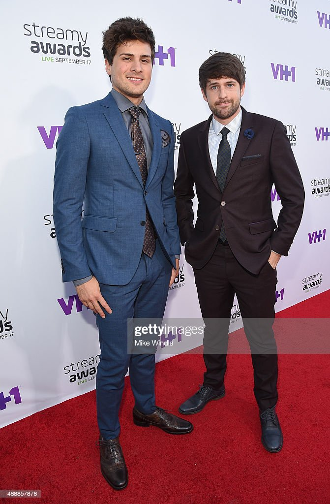 Internet personalities Anthony Padilla (L) and Ian Hecox of Smosh speak attend VH1's 5th Annual Streamy Awards at the Hollywood Palladium on Thursday, September 17, 2015 in Los Angeles, California.