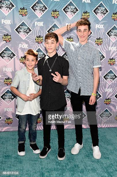 Internet personalities Ashton Rowland Brandon Rowlan and Hunter Rowland attend Teen Choice Awards 2016 at The Forum on July 31 2016 in Inglewood...