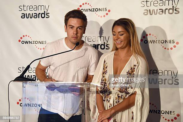 Internet personalities Cody Ko and Andrea Russett attends The 6th Annual Streamy Awards nominations event hosted by GloZell Green at 41 Ocean Club on...