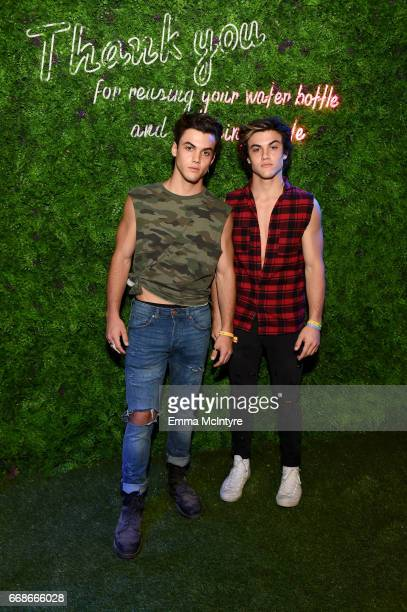 Internet personalities Ethan Dolan and Grayson Dolan attend HM Loves Coachella Tent during day 1 of the Coachella Valley Music Arts Festival at the...