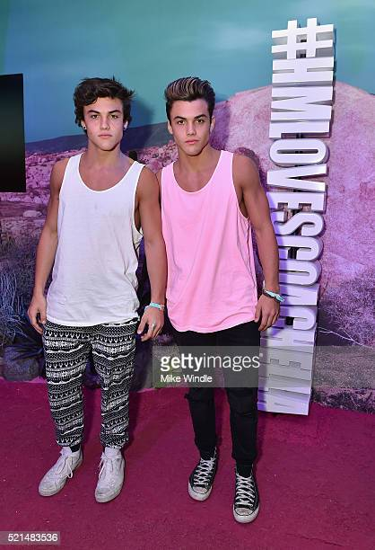 Internet personalities Ethan Dolan and Grayson Dolan attend the HM Loves Coachella Pop UP at The Empire Polo Club on April 15 2016 in Indio California
