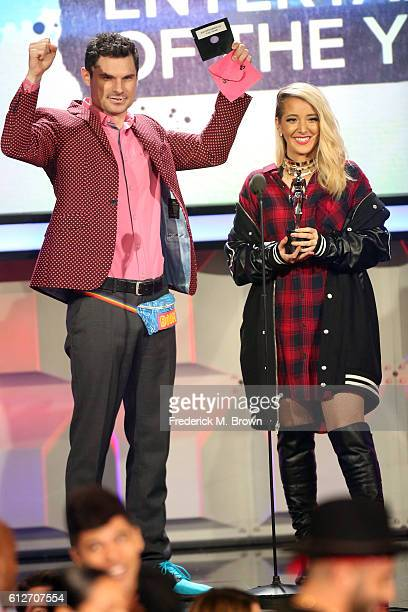 Internet personalities Flula Borg and Jenna Marbles speak onstage during the 6th annual Streamy Awards hosted by King Bach and live streamed on...