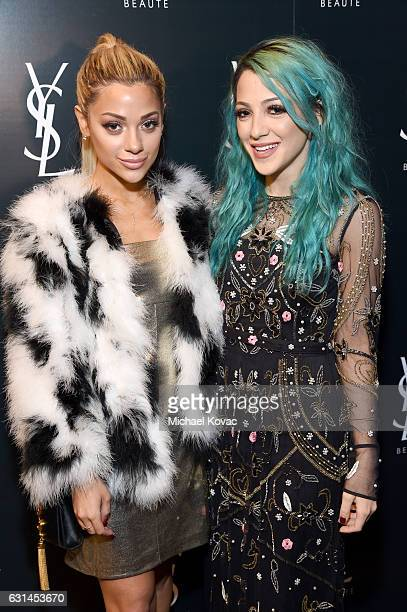 Internet personalities Gabriella Demartino and Niki Demartino attend the YSL Beauty Club Party at the Ace Hotel on January 10 2017 in Downtown Los...