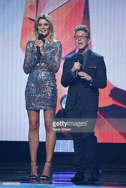Internet personalities Grace Helbig and Tyler Oakley speak onstage at VH1's 5th Annual Streamy Awards at the Hollywood Palladium on Thursday...