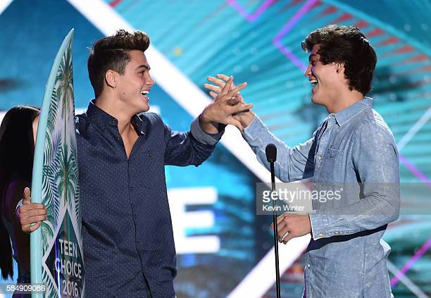 Internet personalities Grayson Dolan and Ethan Dolan accept the Choice Web Stars award onstage during Teen Choice Awards 2016 at The Forum on July 31...