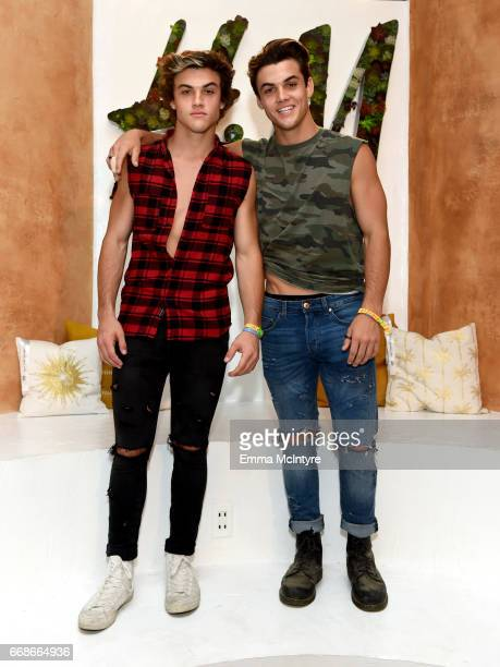 Internet personalities Grayson Dolan and Ethan Dolan attend HM Loves Coachella Tent during day 1 of the Coachella Valley Music Arts Festival at the...