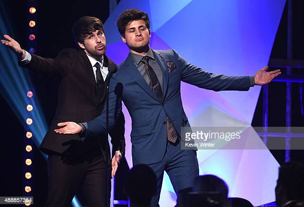 Internet personalities Ian Hecox and Anthony Padilla of Smosh speak onstage at VH1's 5th Annual Streamy Awards at the Hollywood Palladium on Thursday...