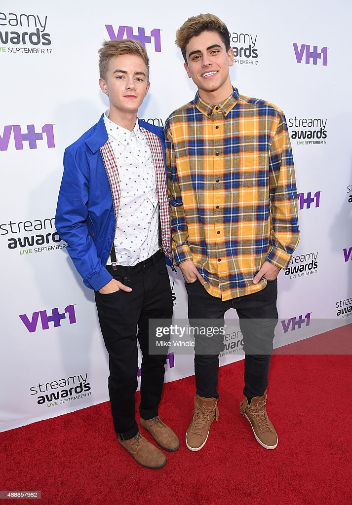 Internet personalities Jack Johnson (L) and Jack Gilinsky attend VH1's 5th Annual Streamy Awards at the Hollywood Palladium on Thursday, September 17, 2015 in Los Angeles, California.