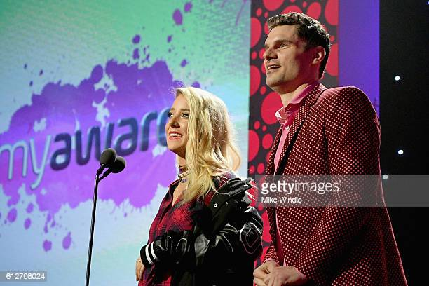 Internet personalities Jenna Marbles and Flula Borg speak onstage during the 6th annual Streamy Awards hosted by King Bach and live streamed on...