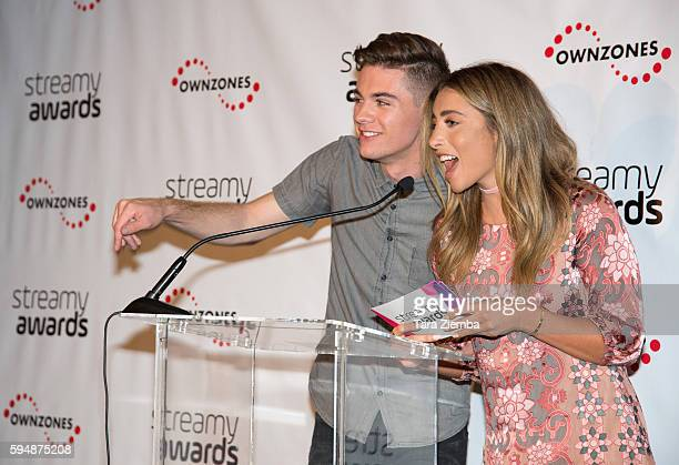 Internet personalities Jordan Doww and Lauren Elizabeth attend The 6th Annual Streamy Awards nominations event hosted by GloZell Green at 41 Ocean...
