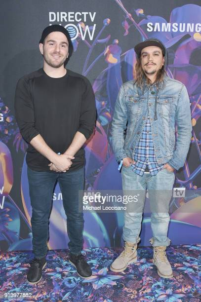 Internet personalities Julien Solomita and Collin Duddy attend the 2018 DIRECTV NOW Super Saturday Night Concert at NOMADIC LIVE at The Armory on...