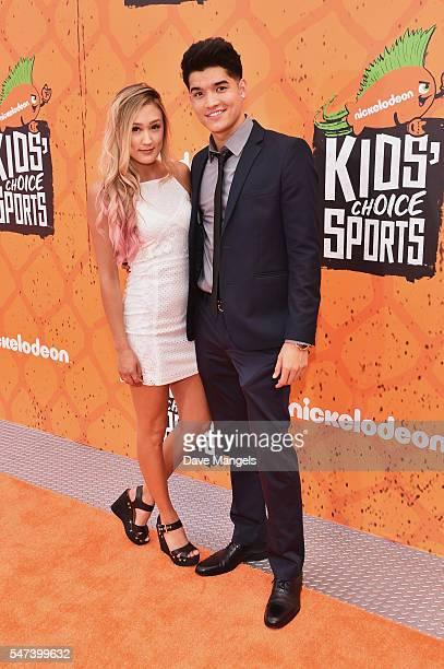 Internet personalities Lauren Riihimaki and Alex Wassabi attend the Nickelodeon Kids' Choice Sports Awards 2016 at UCLA's Pauley Pavilion on July 14...