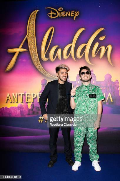Internet personalities Matt and Bise attend the Aladdin photocall and red carpet at The Space Cinema Odeon on May 15 2019 in Milan Italy