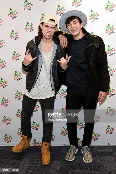 Internet personalities Nash Grier and Hayes Grier visit the FNV Green Room sponsored by Avocados From Mexico at Ted Constant Convocation Center on...