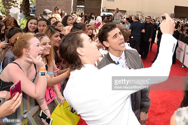 Internet personalities Nash Grier and Jack Gilinsky attend the 2015 Billboard Music Awards at MGM Grand Garden Arena on May 17 2015 in Las Vegas...