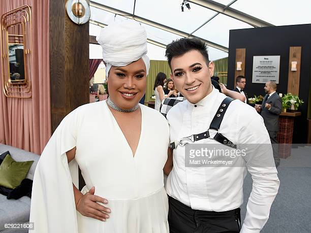 Internet personalities Patrick Starrr and Manny Mua attend The 22nd Annual Critics' Choice Awards at Barker Hangar on December 11 2016 in Santa...