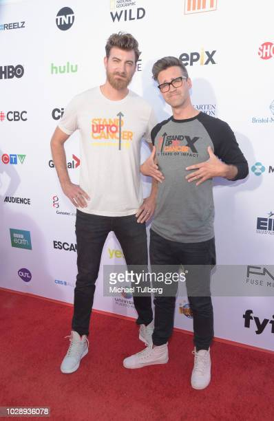 Internet personalities Rhett and Link attend the 2018 Stand Up To Cancer fundraising special telecast at Barker Hangar on September 7 2018 in Santa...