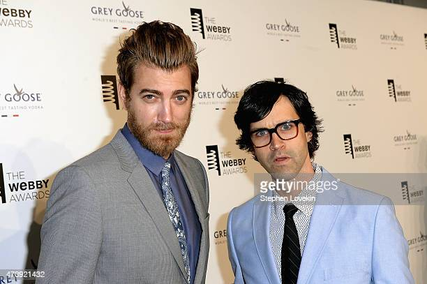 Internet personalities Rhett James Maclaughlan and Charles Lincoln Link Neal of Rhett and Link attend GREY GOOSE Vodka hosts The 19th Annual Webby...