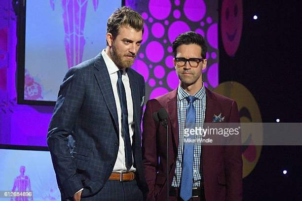 Internet personalities Rhett McLaughlin and Charles Lincoln Link Neal aka Rhett and Neal speak onstage during the 6th annual Streamy Awards hosted by...