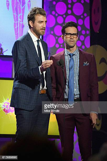 Internet personalities Rhett McLaughlin and Charles Lincoln 'Link' Neal aka Rhett and Neal speak onstage during the 6th annual Streamy Awards hosted...