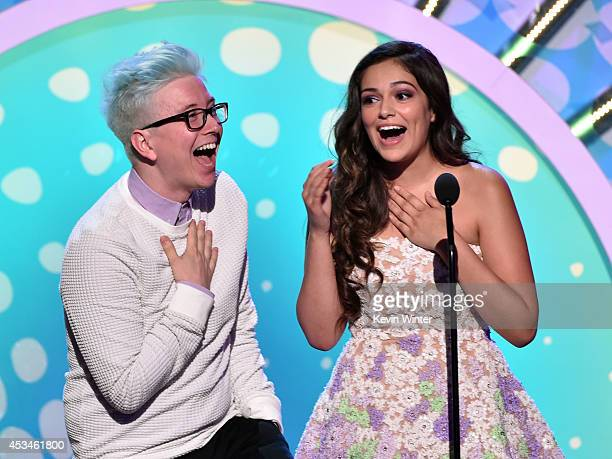 Internet personalities Tyler Oakley and Bethany Mota onstage during FOX's 2014 Teen Choice Awards at The Shrine Auditorium on August 10 2014 in Los...