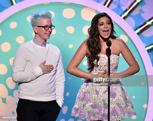 Internet personalities Tyler Oakley and Bethany Mota onstage during FOX's 2014 Teen Choice Awards at The Shrine Auditorium on August 10, 2014 in Los...