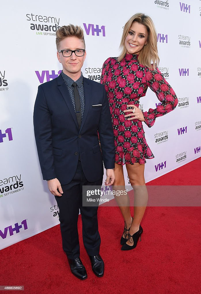 Internet personalities Tyler Oakley (L) and Grace Helbig attend VH1's 5th Annual Streamy Awards at the Hollywood Palladium on Thursday, September 17, 2015 in Los Angeles, California.