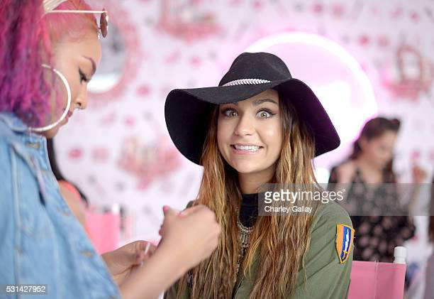 Internet personality Andrea Russett attends Soap Glory's Beauty Boudoir At Wango Tango at StubHub Center on May 14 2016 in Carson California