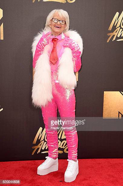 Internet personality Baddie Winkle attends the 2016 MTV Movie Awards at Warner Bros Studios on April 9 2016 in Burbank California MTV Movie Awards...