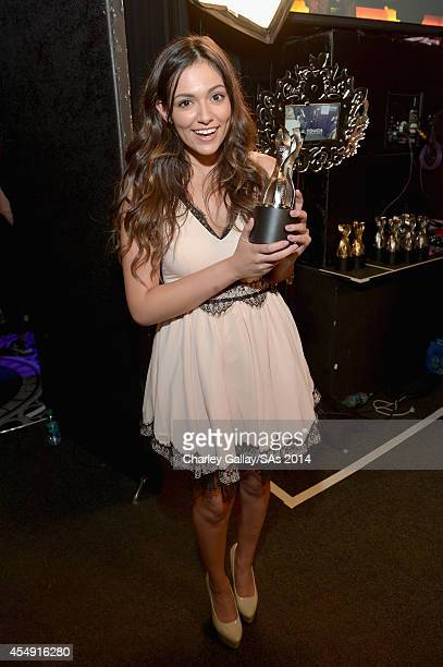 Internet personality Bethany Mota winner of the Best Fashion Program backstage at the 4th Annual Streamy Awards presented by CocaCola on September 7...