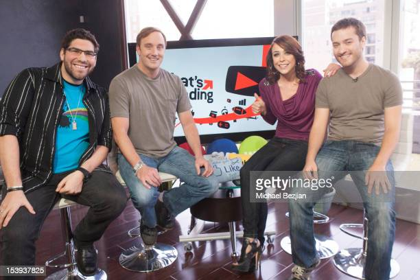 """Internet personality Brett """"Brett the Intern"""" Lemick, actor Jay Mohr, TV personality Shira Lazar and comedian Brock Baker attend """"What's Trending"""" on..."""