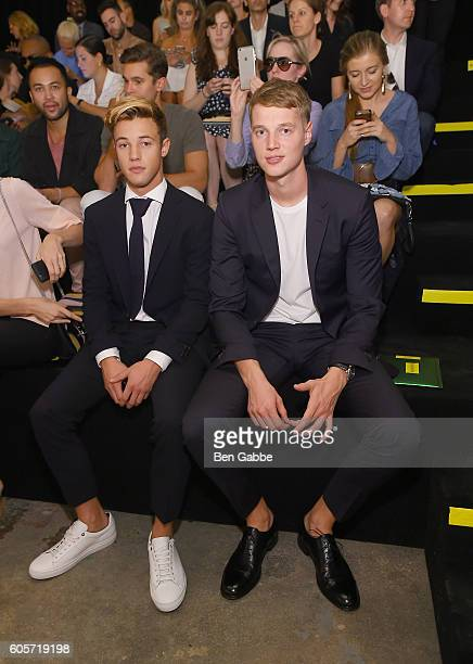 Internet personality Cameron Dallas and guest attend the Boss Womenswear fashion show during New York Fashion Week September 2016 at The Gallery...