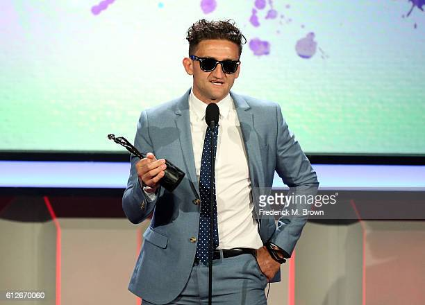 Internet personality Casey Neistat accepts the First Person award onstage the 6th annual Streamy Awards hosted by King Bach and live streamed on...