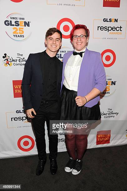 Internet personality Connor Franta and GLSEN Student Ambassador Olly Kelly attend the 2015 GLSEN Respect Awards at the Beverly Wilshire Four Seasons...