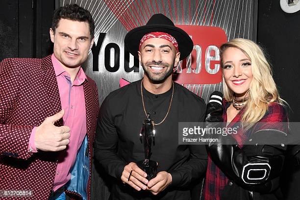Internet personality Flula Borg Internet personality Yousef Saleh Erakat winner of the Entertainer of the Year award and Internet personality Jenna...