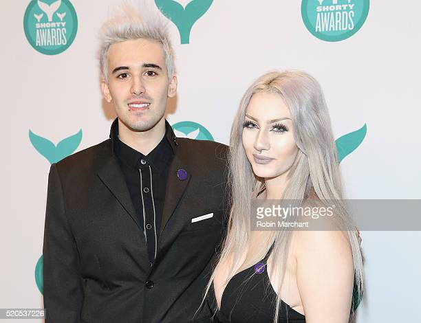 Internet personality Frank Gioia and Eva DeMuro attend 8th Annual Shorty Awards Red Carpet And Awards Ceremony at The New York Times Center on April...