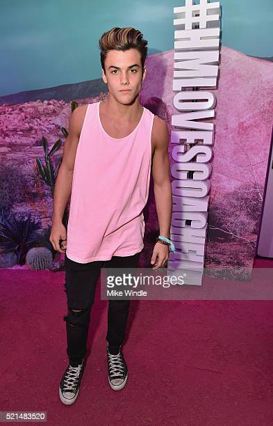 Internet personality Grayson Dolan attends the HM Loves Coachella Pop UP at The Empire Polo Club on April 15 2016 in Indio California