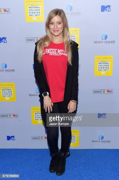 Internet personality iJustine attends the MTV's 2017 College Signing Day With Michelle Obama at The Public Theater on May 5, 2017 in New York City.