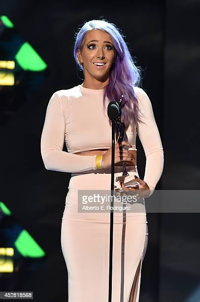 Internet personality Jenna Marbles speaks onstage at the 2014 Young Hollywood Awards brought to you by Samsung Galaxy at The Wiltern on July 27 2014...