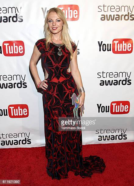 Internet personality Jennifer Newman attends the official Streamy Awards nominee reception at YouTube Space LA on October 1 2016 in Los Angeles...