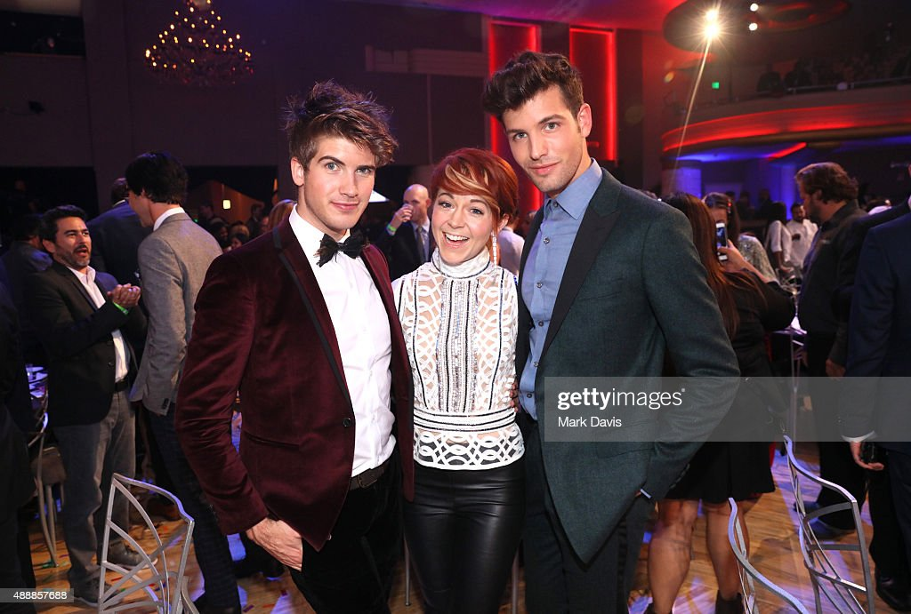 Internet personality Joey Graceffa, musician Lindsey Stirling, and internet personality Daniel Christopher Preda attend VH1's 5th Annual Streamy Awards at the Hollywood Palladium on Thursday, September 17, 2015 in Los Angeles, California.