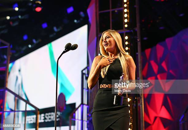 Internet personality Justine Ezarik accepts the award for Best Lifestyle Series at VH1's 5th Annual Streamy Awards at the Hollywood Palladium on...
