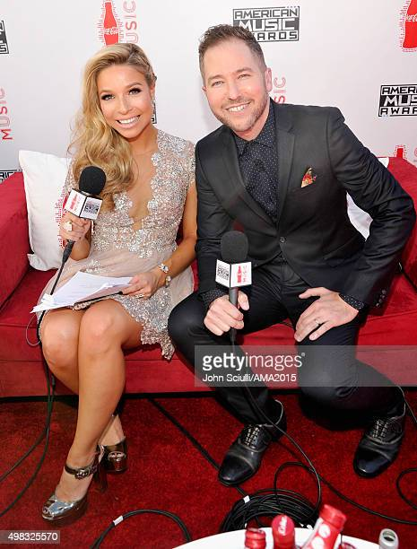 Internet personality Kira Kazantsev and radio personality Ted Stryker attend the 2015 American Music Awards at Microsoft Theater on November 22 2015...
