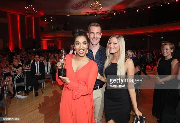 Internet personality Lilly Singh winner of Best First Person Series, actor James Van Der Beek, and internet personality Justine Ezarik, winner of...