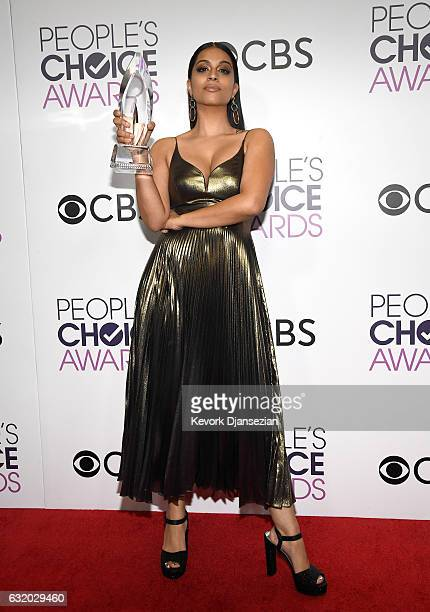 Internet Personality Lilly Singh, winner of the Favorite YouTube Star Award, poses in the press room during the People's Choice Awards 2017 at...