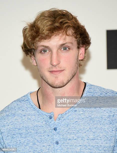 Internet personality Logan Paul poses in the press room during The 2015 MTV Movie Awards at Nokia Theatre LA Live on April 12 2015 in Los Angeles...