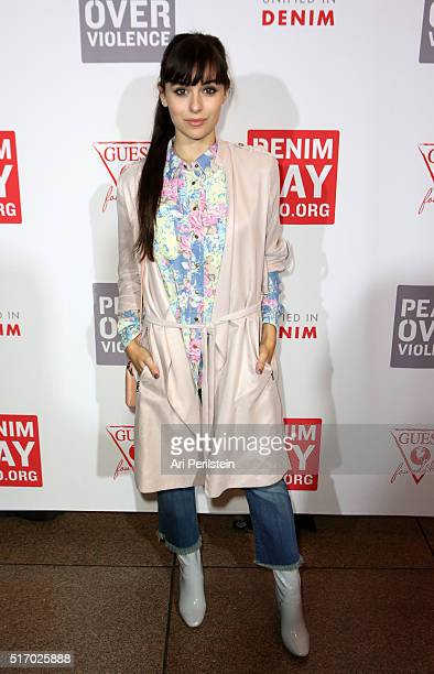 Internet personality Marta Pozzan attends the GUESS Foundation and Peace Over Violence Denim Day Cocktail Event at at MOCA Grand Avenue on March 22...
