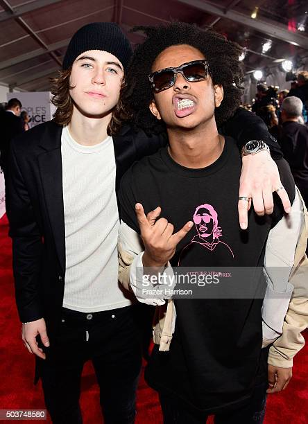 Internet Personality Nash Grier and Tez Mengestu attend the People's Choice Awards 2016 at Microsoft Theater on January 6 2016 in Los Angeles...