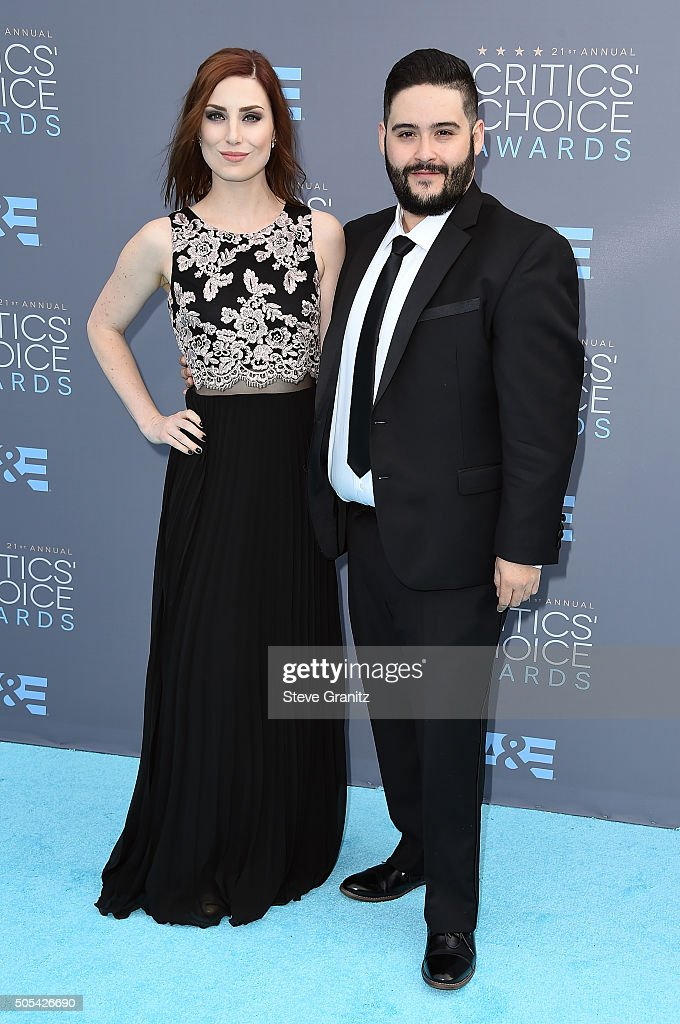Internet personality Steve Zaragoza (R) and actress Bree Essrig attend the 21st Annual Critics' Choice Awards at Barker Hangar on January 17, 2016 in Santa Monica, California.