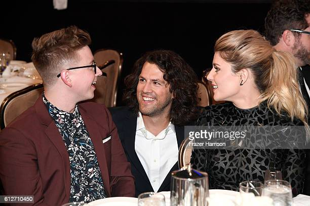 Internet personality Tyler Oakley executive producer of the Streamy Awards Drew Baldwin and internet personality Grace Helbig attend the 6th annual...